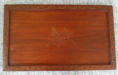 Antique Camels & Desert Riders Brass Inlaid Design Wood Design Tray! Excellent!