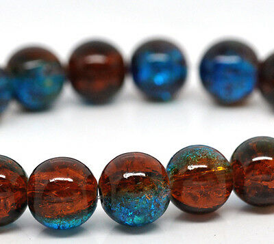 50 x Blue & Brown Crackle Glass Beads Craft Jewellery - 10mm - L12247