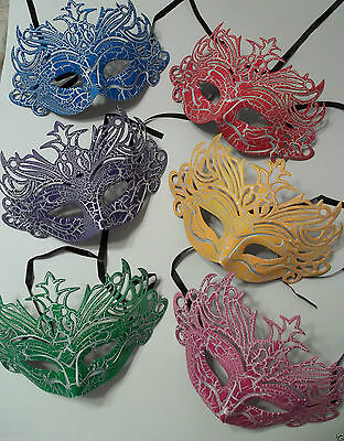 Red, Blue, Yellow, Purple, Green, Pink Cracked Antique Crown Masquerade Mask XL