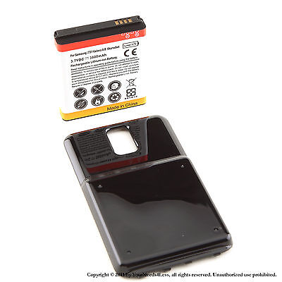 3800mAh Extended Battery for Galaxy S2 Skyrocket i727 AT&T Black Cover