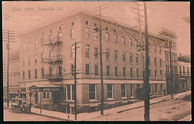 POTTSVILLE PA Hotel Allan Antique Town View Horse & Buggy Postcard Early Vtg Old
