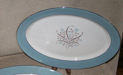 "Syracuse China Meadow Breeze Oval 14"" Platter Blue Band with Florals"