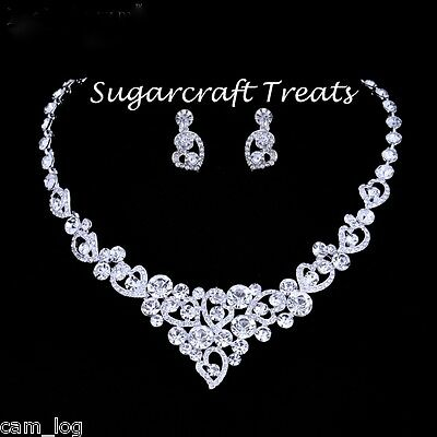 Stunning Silver Heart Crystal Bridal Jewellery Necklace Earrings Set Diamante