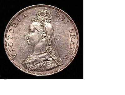 1887 GREAT BRITAIN Victoria Double Florin Silver AU+ #Z258