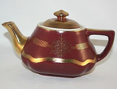 """1950's Vintage Hall """"baltimore"""" Shape Maroon And Gold Teapot 6 Cup, Rare"""