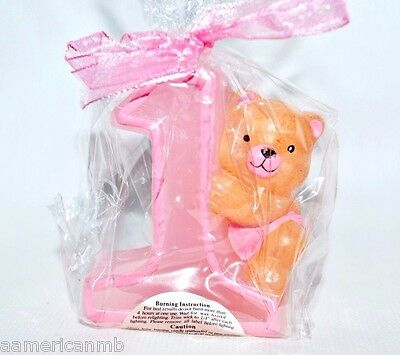 Baby Girl 1st First Birthday Candle Number One #1 Cake Topper Pink Teddy Bear