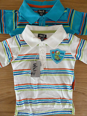 Minoti Baby Boys Skate Dino Polo Shirts In Blue Or White 6-12 Months Bnwt Lovely