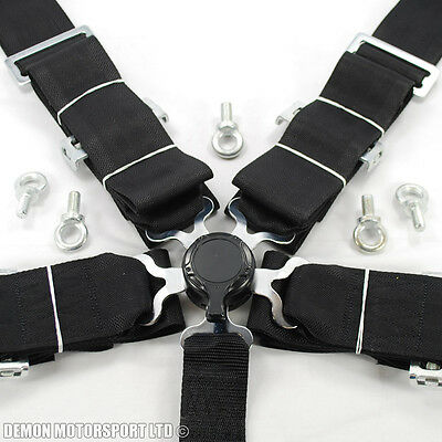 """3"""" Inch 5 Point Quick Release Seat Belt Harness (Black) with Eye Bolts"""