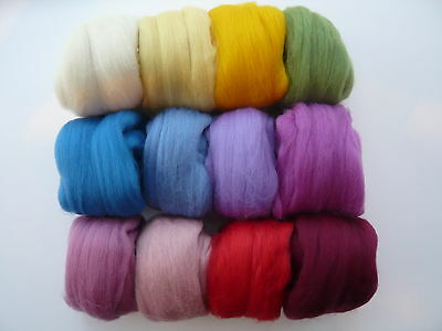 Heidifeathers®Merino Felting Wool 'Blooming Flowers mix' 12 Colours (300g)