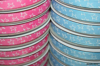 "25m Reel - Blue and Pink Stars - Grosgrain Ribbon - 10mm (3/8"") width"