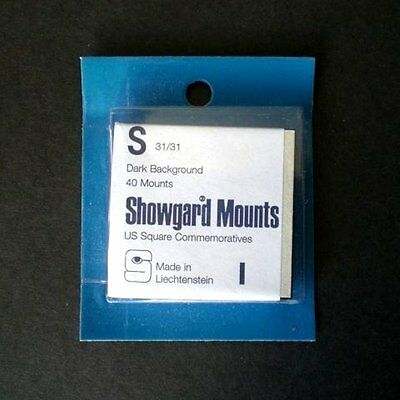 Showgard Stamp Mounts Size S 31/31 BLACK Background Pack of 40