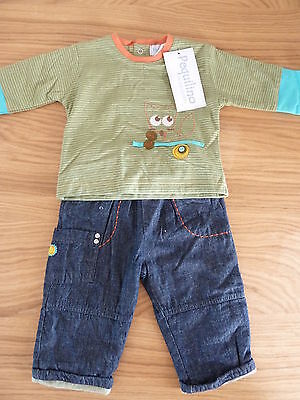 Pequilino Baby Boys 2 Piece Top & Soft Jean Outfit Set (3 To 9 Months) **bnwt**