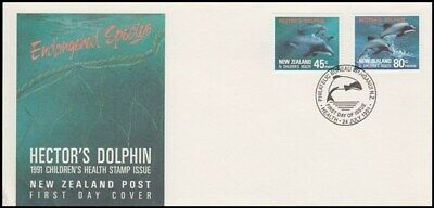 NEW ZEALAND FDC 1991 HEALTH SET 2 STAMPS DOLPHIN