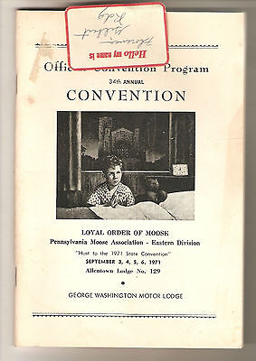 Loyal Order Of Moose Official Convention Program  PA - Eastern Division PB 1971