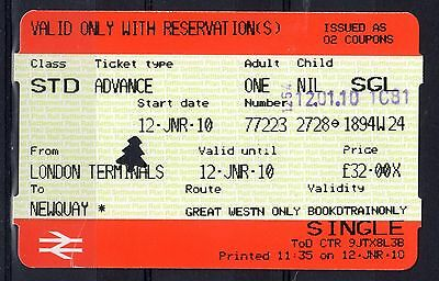 GB = Railway Ticket (Used) - LONDON TERMINALS to NEWQUAY (Cornwall)