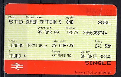 GB = Railway Ticket (Used) - LONDON TERMINALS to TRURO (Cornwall)