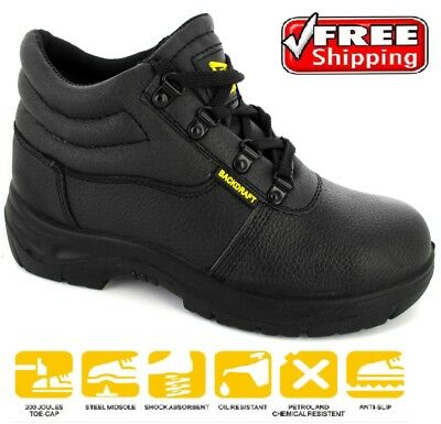Mens Black Chukka Safety Steel Toe Work Shoe Lace Boot Trainer Midsole Sz 4-12