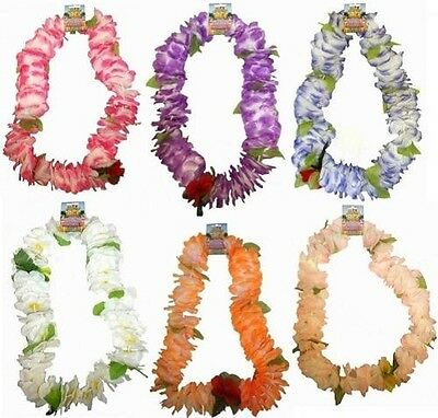 Hawaiian Deluxe Lei Floral Garland Fancy Dress 6 Pastel Colours New