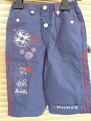 Disney Baby Mickey Mouse Boys Trousers In Dark Blue Bnwt (6-18 Months Available)