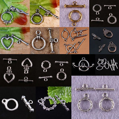 Tibetan Silver Heart Oval Round Flower Leaf Shaped Toggle Clasp Metal Findings
