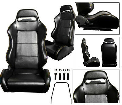 New 2 Black + Yellow Stitch Leather Racing Seats Reclinable All Chevrolet *****