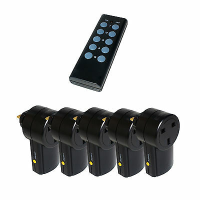 5 X Remote Control UK 240V Wireless Mains Sockets - Switch Adapter Plug In RF