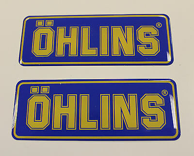 OHLINS stickers - decals - 2 x Blue High Gloss Gel Finish - 79mm - Motorcycling