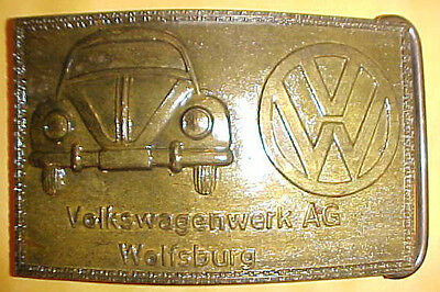 VW VolksWagenwerk AG Vintage  Brass Belt Buckle 1970's-- 2 1/2 x 4 inches