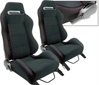 NEW 2 Black Cloth + Red Stitching Racing Seats RECLINABLE Ford Mustang Cobra
