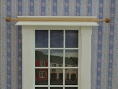 Dolls House Miniature 1/12th Scale Pk of 2 Light Wood Curtain Poles