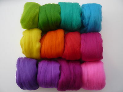 Heidifeathers® Merino Wool 'Playful Mix' 12 Colours 300g - Bright Wool Felting