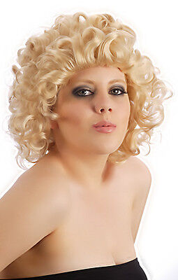 Cosplay Womens Curly 50's Ladies Sandy Blonde Short Wig Fancy Dress Costume