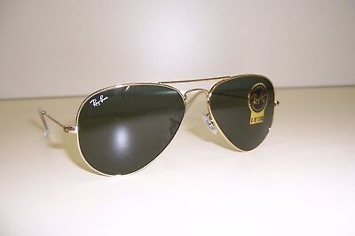 a4e42e1b4a RAY-BAN AVIATOR Sunglasses Gold Frame Green Classic G-15 Lens 55mm ...