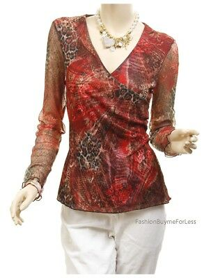 Victorian Vintage Lace Antique Rose Fitted Long Sleeve Sheer Blouse Top S M L