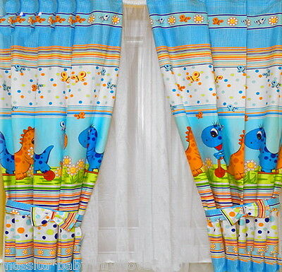 Lovely CURTAINS for baby's room/ Blue Dino/