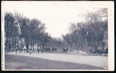 BROOKLYN NYC NY Coney Island Boulevard Vintage Horse & Buggy City Postcard Old