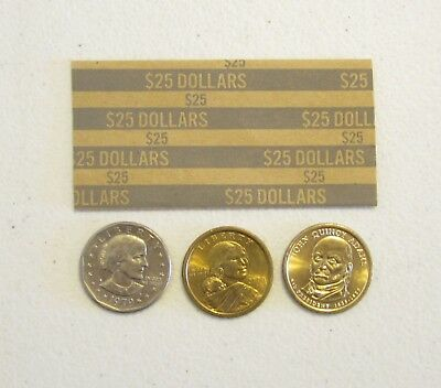 100 Coin Wrappers For Presidental Dollars, Sacagawea Dollar  & Susan B. Anthony