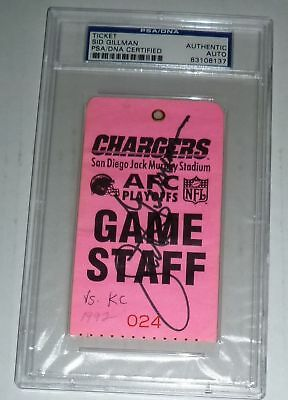 Sid Gillman Signed Chargers HOF Ticket PSA/DNA Slab