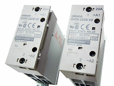 OMRON G3PA-220B-VD 24-240VAC 20A - 2 x SOLID STATE RELAY - Used - Lot Of 2