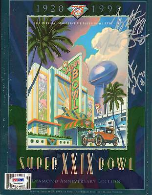 Tony Martin Mark Seay Natrone Means Chargers Signed 1995 Super Bowl Program PSA