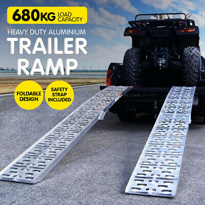 2X ALUMINIUM FOLDING LOADING RAMPS ATV Motorbike Motorcycle Golf Buggy trailer