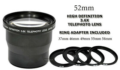 3.6X 52MM TELEPHOTO ADAPTER RING INCLUDED FOR 37mm 46mm 49mm 55mm & 58mm