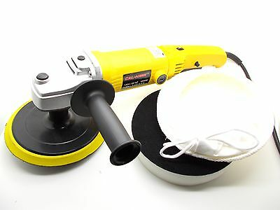 "7"" Electric Variable 6-Speed Car Polisher Buffer w/ Foam Pad & Wool Bonnet Pad"