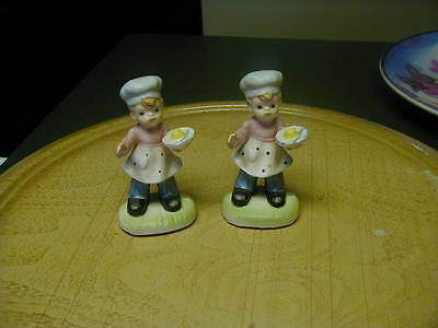 TWO VINTAGE NAPCO? BOY BAKER FIGURINES CUTE