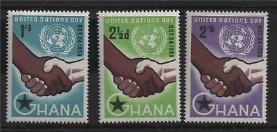 Ghana 1958 United Nations Day SG 201/203 MNH