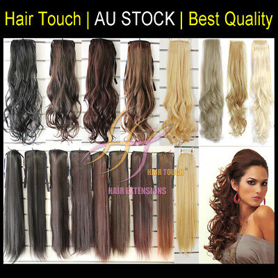 Long Ponytail Hair Extension Tie on /Wrap on Natural Sythetic feel like human