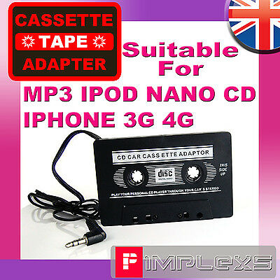 Car Cassette Tape Adapter For  Iphone 4 4S 3G Mp3 Ipod Archos Cd Zen Sansa Sony