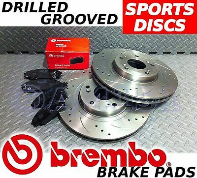 VAUXHALL CORSA D 1.6 VXR FRONT Drilled/Grooved Brake Discs & BREMBO Pads