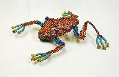 LARGE Wire + Beaded FROG SCULPTURE * Amber + Turquoise * New Mexico * Blue Feet
