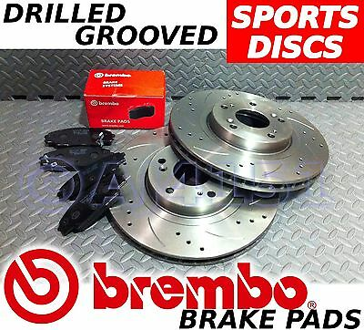 OPEL VAUXHALL CORSA C 2000- Drilled & Grooved FRONT Brake Discs BREMBO Pads